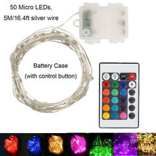RGB 50 LED Fairy Lights & Timer Remote Dimmable Battery Power Xmas Party Wedding