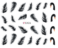 Nail Art Sticker Water Decals Transfers Black Swan Feathers (E426)