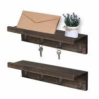 Coat Hooks Shelves with 8 Hooks Rack Wall Mounted Floating Hanging Shelf 2 Pcs