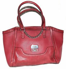 Guess Brick Red with Snake Embossed Accents Faux Pebbled Leather Tote Bag