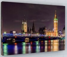 LONDON CITY NIGHT CANVAS PICTURE PRINT WALL ART CHUNKY FRAME LARGE 051-2