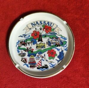 "VINTAGE NASSAU BAHAMAS CERAMIC PORCELAIN SOUVENIR 6.5"" ASHTRAY"