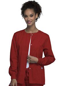 CherokeeWorkwear Originals Snap Front Warm-Up Jacket 4350 REDW Red Free Shipping