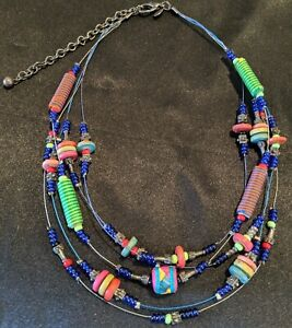 Fun And Funky Chico's Multi-Strand Necklace Different Colors and Shapes