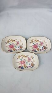 Vintage Takahashi Soap Dish Floral Flowers Birds Gold Rimmed Made in Japan - 3