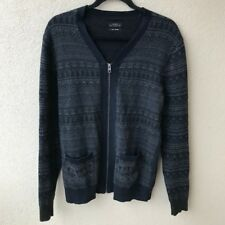 All Saints Mens Medium Full Zip Cashmere Silk Blend Cardigan Sweater