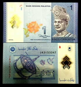 Malaysia 1 Ringgit Polymer Banknote World Paper Money UNC Currency Bill Note