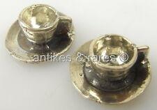 2 tolle Puppenstuben Tassen mit Untertassen in 800 (Ag) Silber