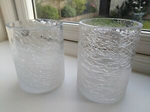 Glass Crackle Effect Tea Light / Candle Holders X 2