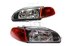 For 92-95 Honda Civic Black Glass Head lights w/City Light 4dr  SM Amber Corners