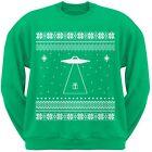 Alien Beam Ugly Christmas Sweater Green Adult Men's Crew Neck Sweatshirt