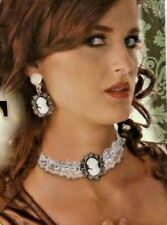 Cameo Clip On Earrings and Lace Choker Steampunk Costume Jewelry Set