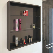 Patello 600mm grey bathroom fitted furniture wall mounted twin glass shelf unit