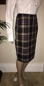 Vivienne Westwood ~ Anglomania Black Tan Red Navy Tartan Check Skirt 40 UK8