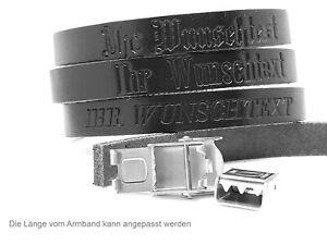 Lederarmband Prägung Name Wusch Text Wunschname Gravur 3 Schriftarten Unisex