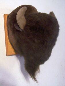 Faux Fur Brown Bison 15 Inch Stuffed Animal Plush Buffalo Head Wall Mount Bust