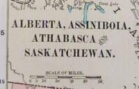 "Vintage 1900 ALBERTA ASSINIBOIA SASKATCHEWAN Map 14""x11"" ~ Old Antique Original"