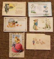 lot 6 vintage EASTER POST CARDS postcard bunny egg basket 1912-1916 1 cent stamp