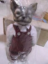 VINTAGE  NEW IN BAG  CHRISTMAS  DECOR  CAT MEN   DOLL CERAMIC HEAD AND PAWS  9''