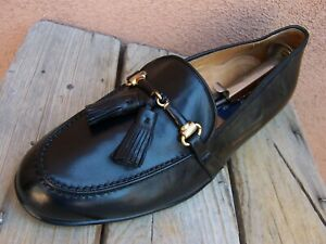 COLE HAAN Mens Casual Dress Shoes Black Leather Italian Tassel Loafers Size 8.5M