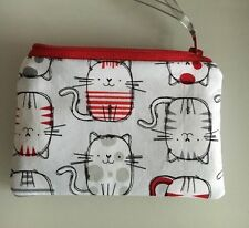 HANDMADE CUTE SKETCHED CAT ZIPPY COIN PURSE PADDED