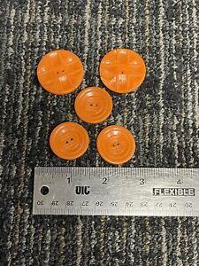 Vintage Bakelite? Button Lot Orange Set of 5 1930s 1940s