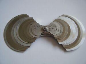 """Davis-large radius gage set -24 sizes--9/16""""-2"""" by 1/16"""" increments"""