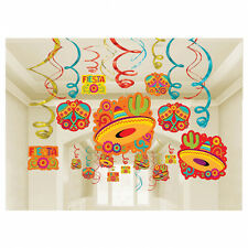 30 MEXICAN FIESTA PARTY SOMBRERO HANGING SWIRL CUTOUTS DECORATIONS WILD WEST