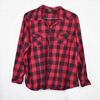 Torrid Shirt 3X Womens Black Red Checkered Button Down Long Sleeve