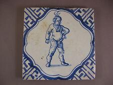 Antique Dutch Delft Tile Human Rare Tiles 17th century - free shipping