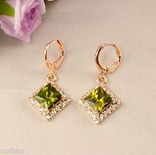 E3 18k Rose Oro Plateado Colgantes Pendientes Con Peridot Verde Zirconia Cristales