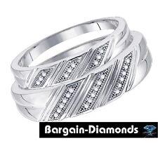 diamond 2-ring bride groom wedding band set .08 carat micro pave 925 white