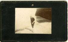 Portrait scène de genre homme sur plage en tenue de bain CDV photo circa 1890