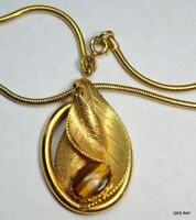 Mid Century Modern Tiger Eye Pendant Snake Chain Vintage Necklace Sagaofluck