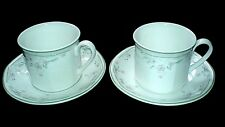 ROYAL DOULTON CAPRICE Cup+Saucer Set x2 (4 sets available) Pink/Green Patt c1988