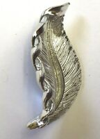 """VINTAGE SIGNED GERRY'S LEAF FEATHER BROOCH PIN SILVER TONE TEXTURED 2"""" X1"""""""