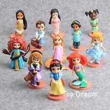 11pcs Princess Figures Cake Toppers Cinderella Ariel Snow White Rapunzel Figures