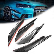 4x ABS Carbon Fiber Car Bumper Fin Canard Splitter Diffuser Valence Spoiler Lip