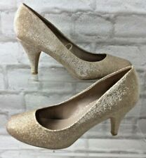 Dorothy Perkins Gold Glitter Court Shoes Heels Stilettoes Wide Fitting UK 8 W562