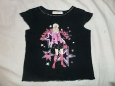 George Girls Black Cap Sleeve 100% Cotton Top Size 6-7 Years