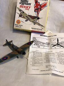 WORKING DIECAST DINKY TOYS RAF SUPERMARINE SPITFIRE WW2 FIGHTER PLANE WITH BOX