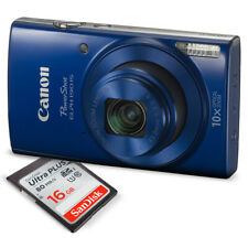 Canon PowerShot ELPH 190 IS Digital Camera (Blue) with 10x Optical Zoom and kit.