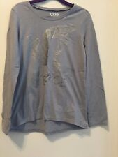 Girls 77kids american eagle Long Sleeve Top Shirt, Gray Shinny Dove Size M 10