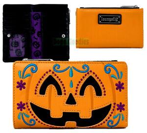Loungefly Orange Emo Pumpkin Zipup Purple Lining Clutch Wallet for Phone & Cards