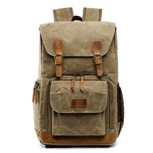 ALLACKI Waterproof Shock-resistant Canvas Camera Bag Retro Style Travel Backpack