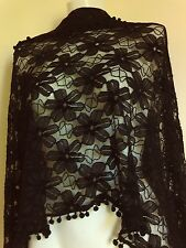 NEW BLACK LACE  SCARF SCARVES GIFT  SHAWLS GIFT JEAN PASHMINA STOLE SHAWLS PARTY