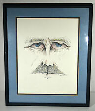 1990 Mixed Media Ink Pencil Drawing Signed PATRICK Man's Face Portrait
