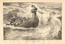 Political Cartoon, Socialism, Labor Conference, Vintage 1890 Antique Art Print