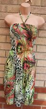 COMENG GREEN PINK HALTERNECK LYCRA PEACOCKS FEATHER SMOCK TUNIC DRESS S M