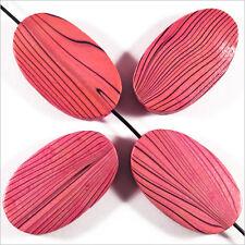 Lot de 4 Perles en Bois Ovales plates 20 x 33 mm Rose Fuchsia Motif Zébré